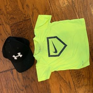 Underarmour Hat Youth XS and Nike Drifit Shirt 2T